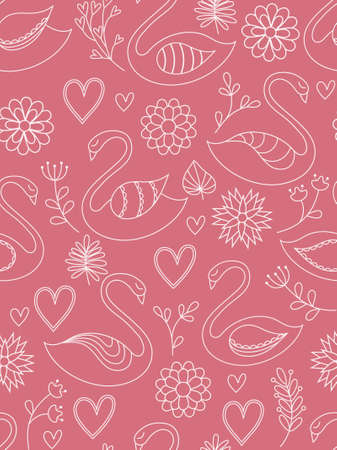 swans:  Pink seamless pattern with swans, hearts and flowers. Vector illustration.