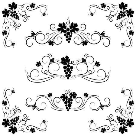 De set van druiven ontwerp element. Vector illustratie.