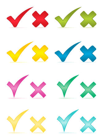 green cross: Check marks and crosses.Vector illustration.