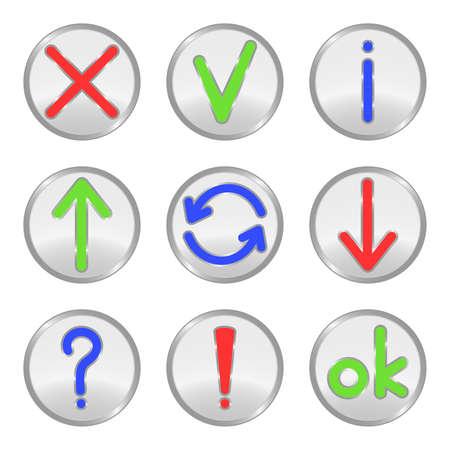 uploading: Argento pulsanti web: Croce, segno di spunta, informazioni, caricamento, connessione, download, domanda, punto esclamativo, ok. Illustrazione vettoriale. Vettoriali