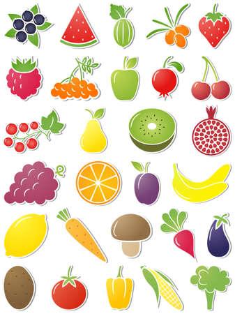 pomegranate: The set of Food icons. Vector illustration. Illustration