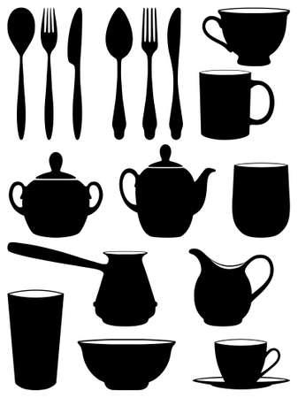 pietanza: Set di piatti sagome. Illustrazione vettoriale.