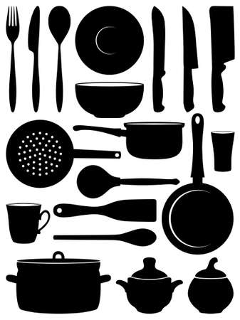 stew pot:  Set of silhouettes dishes.  illustration.