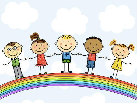 traino: Bambini divertenti su un arcobaleno. Illustrazione vettoriale.