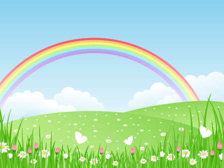 Beautiful summer landscape with rainbow. Vector illustration. Vector