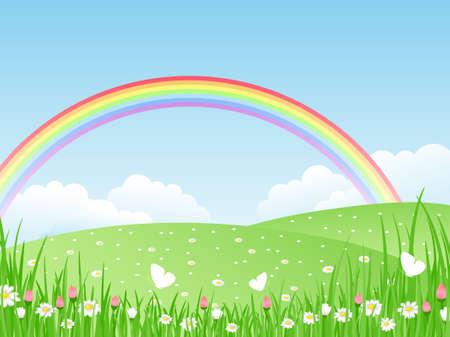 prato e cielo: Panorama con arcobaleno bella estate. Illustrazione vettoriale.