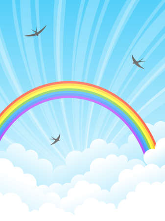 Rainbow and clouds. Vector illustration. Stock Vector - 9043591