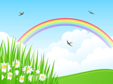 Landscape with a Rainbow. Vector illustration. Stock Vector - 9043594