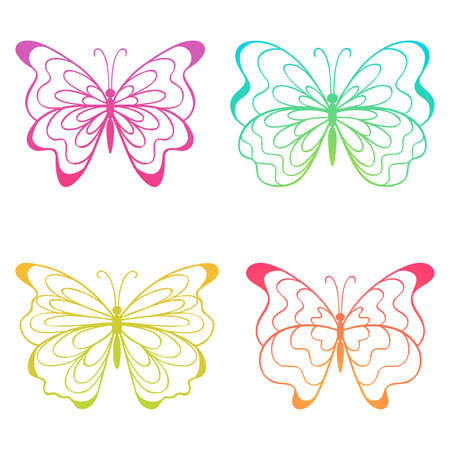 The set of four colorful butterflies. Vector   illustration.  Vector