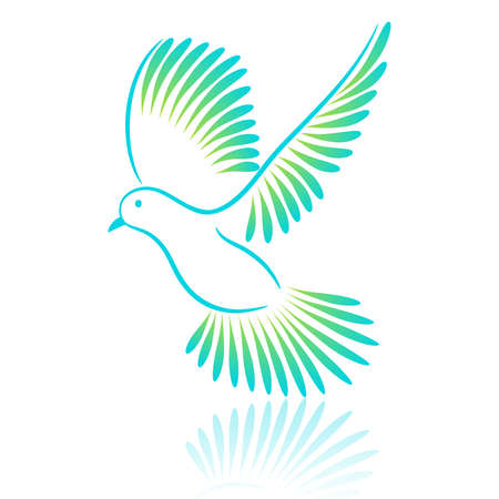 Logo bird. Pigeon. Vector illustration.