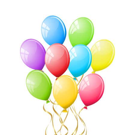 globos fiesta: Mont�n de globos coloridos parte  Vectores