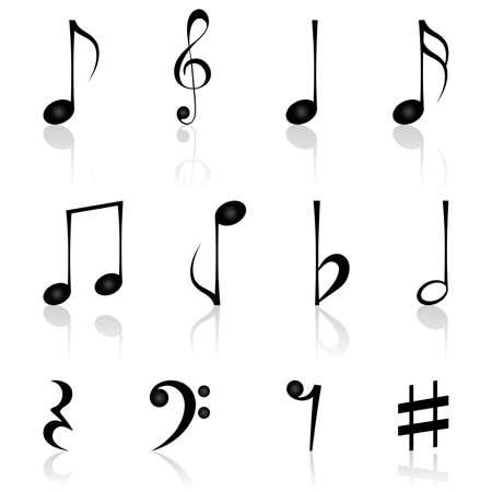 iconos de m�sica: Notas. Ilustraci�n vectorial. Vectores