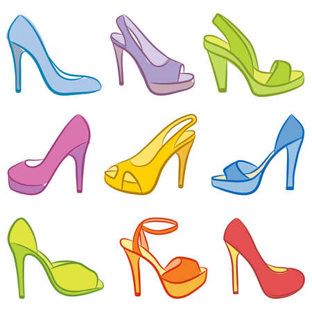sandals isolated: Colorful Shoes. Vector illustration. Illustration