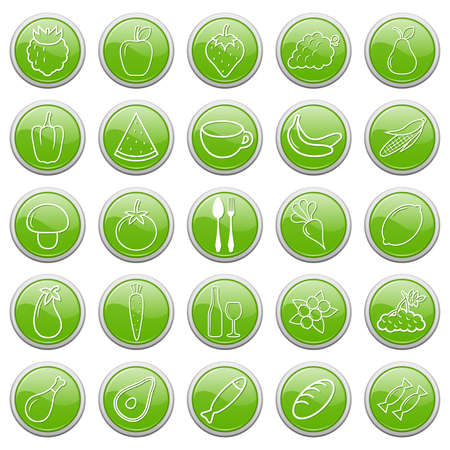 A set of buttons with food icons. Vector illustration. Stock Vector - 9436774