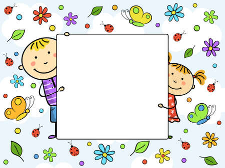 Childrens frame. Vector illustration.