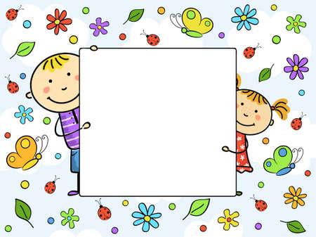 Childrens frame. Vector illustration.