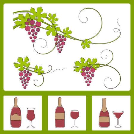 Grape design elements.Vector illustration. Stock Vector - 9702472