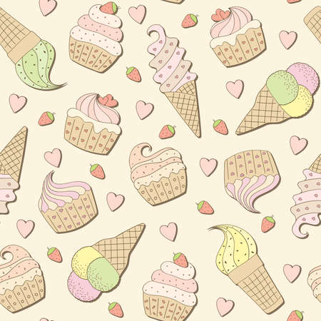 cream paper: Sweets background. Vector illustration.