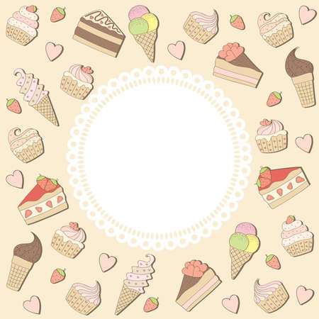 cream paper: sweets frame. vector illustration.
