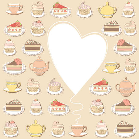 sugary: Sweets frame. Vector illustration.