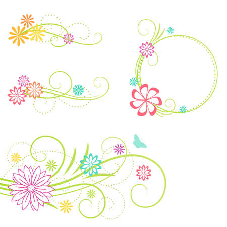 Floral frame and design elements. Vector illustration.