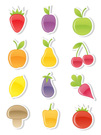 Set of fruits and vegetables. Vector illustration. Vector