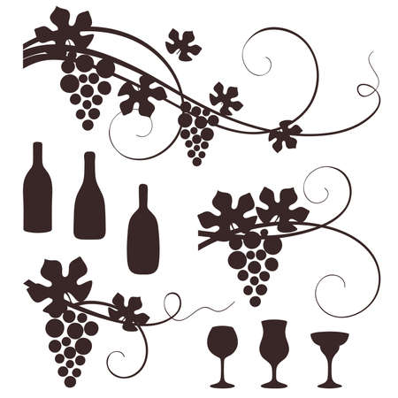 Grape design elements. Vector illustration. Stock Vector - 9810357