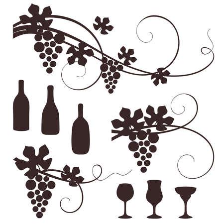 Grape design elements. Vector illustration.