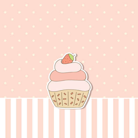 cupcake illustration: Pink background with cupcake. Vector illustration.