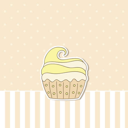 Beige background with cupcake. Vector illustration. Vector