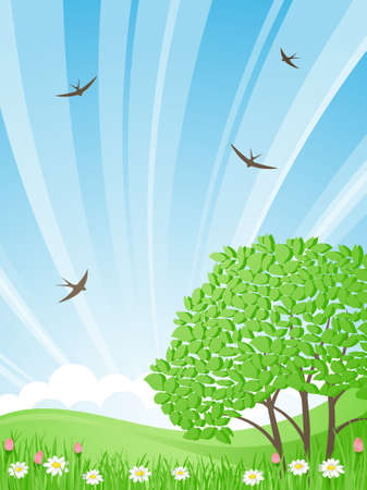 Green meadow with tree on a background of the rising   sun. Swallows fly in the sky. Vector illustration. Vector