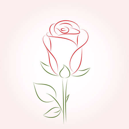 Single red rose on a pink background. Vector   illustration. Stock Vector - 9810364