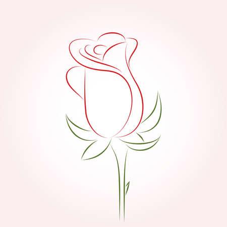 jednolitego: Pojedynczy czerwony wzrósł na tle różowe. Wektorowa ilustracji. Ilustracja