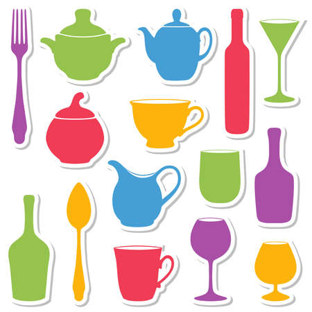 yellow tea pot: Set of silhouettes dishes illustration.