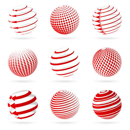 red sphere: Sphere icons illustration. Illustration