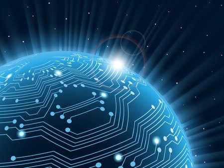 circuito electrico: Tecnología planeta. Ilustración vectorial. Vectores