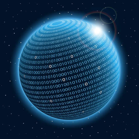 binary globe: Technology planet. Vector illustration.