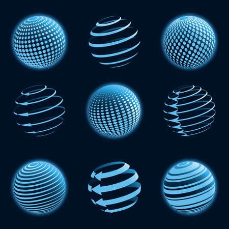 Iconos del planeta azul. Ilustración vectorial.