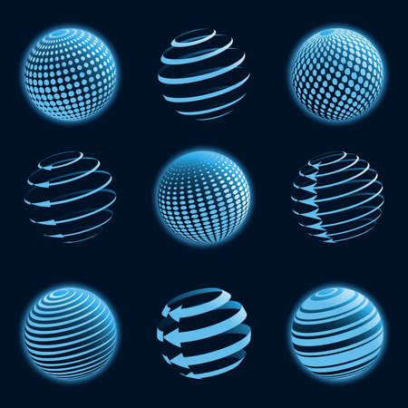 red sphere: Blue planet icons. Vector illustration.