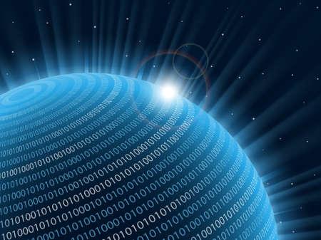 codigo binario: Planeta de tecnología. Ilustración vectorial.
