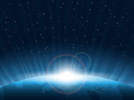 曙光。查看從空間。矢量插圖