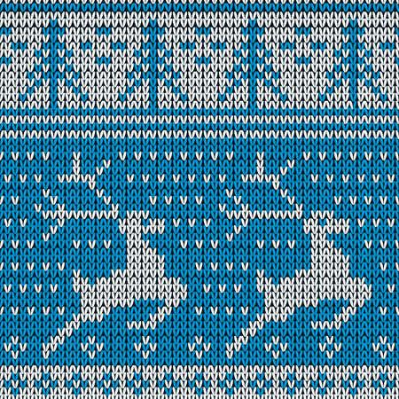 藍色針織背景與鹿。