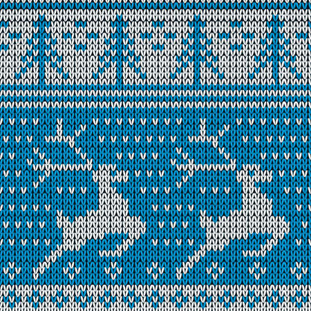 Blue knitted background with the deer.  Vector