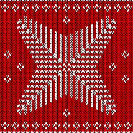 Red knitted background with snowflakes.