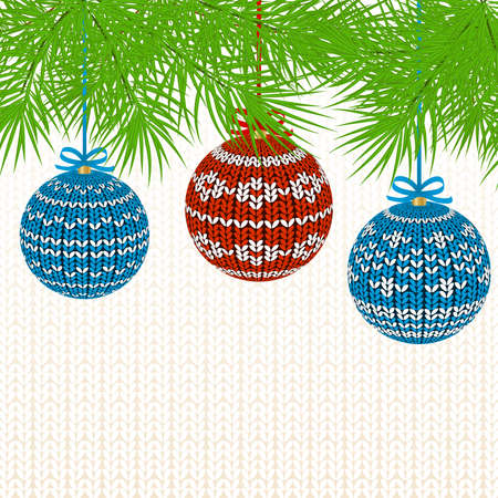 new year tree: Christmas Background with Knitted Ball. Illustration