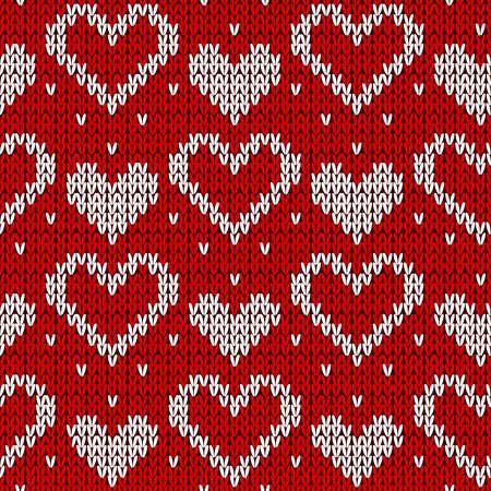 紅色針織背景與心。向量插圖。