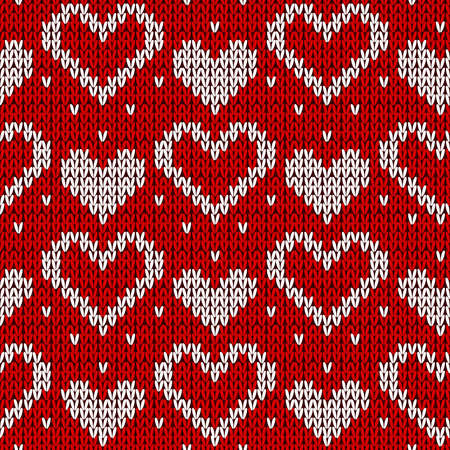Red knitted background with hearts. Vector illustration.