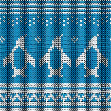 藍色針織背景與企鵝。向量插圖。