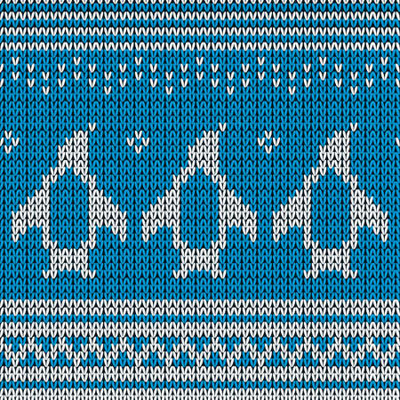 Blue knitted Background with penguins. Vector illustration. Vector