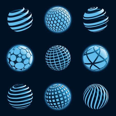 3d ball: Blu planet icons. Illustration